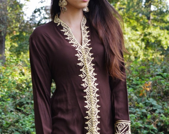 Summer Brown Tunic Dress with Gold Embroidery-Samia- perfect  birthday gifts,resort wear, Valentine's day,  wear, boho dresses,beach kaftan