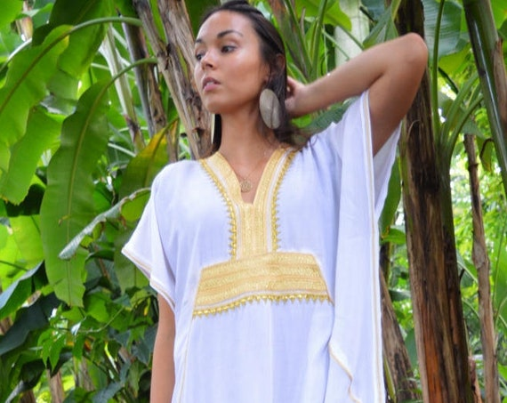 30% OFF SALE//Kaftan, Caftan, White & Gold Marine Marrakech Kaftan, beach cover ups, resortwear, beach kaftan, maternitydress, winter dress
