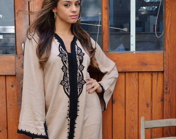 Autumn Kaftan Beige Black Warda Moroccan- Caftanwear,resortwear,beach cover up, ,Moroccan, Maternity Gifts, Autumn dress,