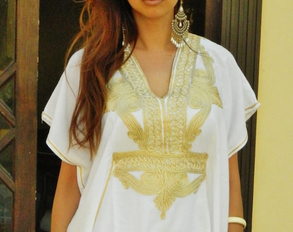 Caftan Kaftan Maxi Dress Marrakech Style- White with Gold Embroidery, for beach cover ups, birthday gifts, Ramadan, Eid