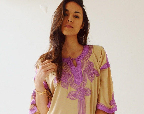 Dress Kaftan Clothing Beige with Lilac Caftan Kaftan Maxi Dress -Aziza -loungewear, as resortwear, Birthdays, Maternity, Winter dress