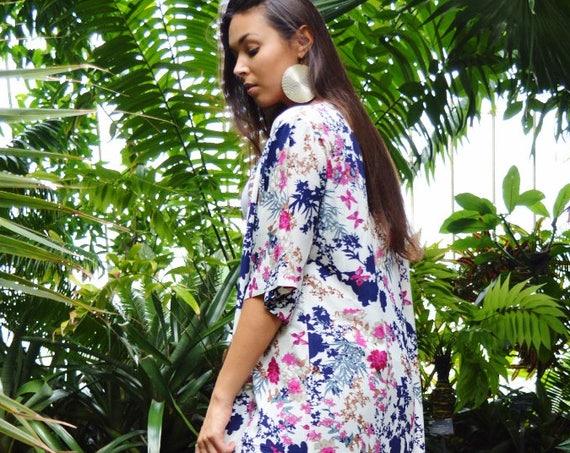 Winter Floral Print Kimono, Jacket, long Jacket, Marrakech Kimono, Robe, Beach Kimono,  Jacket, Bohemian, Moroccan Jacket,Long Shirt, No. 2