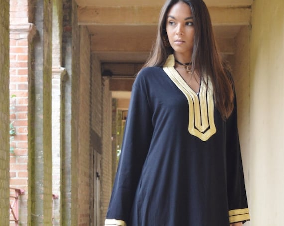 Winter Kaftan, Black Mariam Kaftan- caftan,resortwear, beach cover ups, birthday gifts, moroccan kaftan, Ramadan, Eid,  gifts,Black Friday