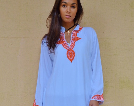 25% OFF SALE Kaftan Moroccan Clothing //White Orange Melik Moroccan Caftan Kaftan -maxi, resort, beach cover up, , Moroc,Autumn dress,