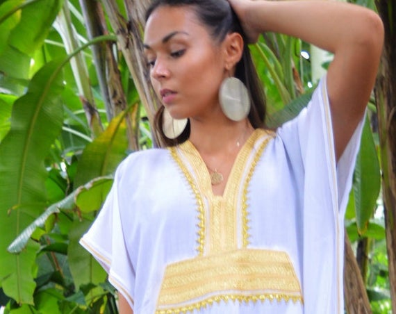 Kaftan, Caftan, White & Gold Marine Marrakech Kaftan, Beach dress, beach cover ups, resortwear, beach kaftan, maternity kaftan, winter dress