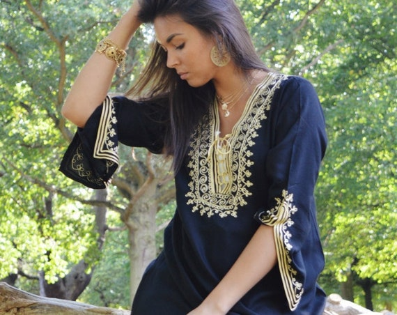 Spring Spring Black Tunic Dress with Gold Embroidery Marrakech Boho Tunic -  as Casual wearwear, resortwear, bohemian wear,  dress,