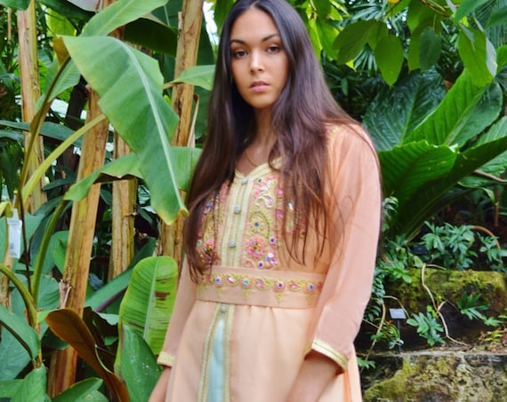 Kaftan Moroccan Modern Pink Gold Embroidery Caftan Kafan-Millia-moroccan parties, weddings,abbayas, , , anniversary gift,summer dress,Easter