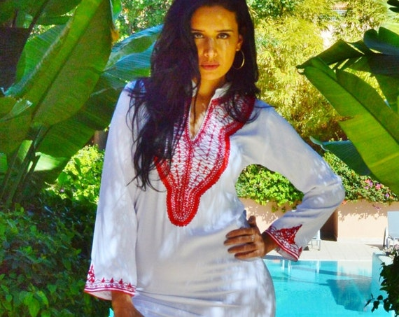 Summer Beach Trendy Clothing White Orange Red Embroidery Warda Moroccan Caftan Kaftan-maxi, resort, beach cover up, ,Maternity Gifts, dress