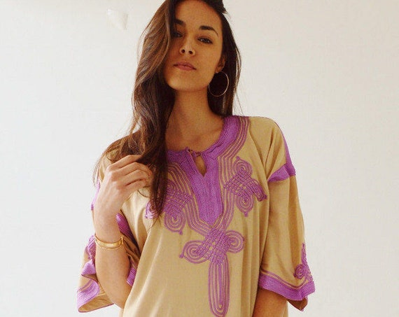 Spring Dress Kaftan Clothing Beige Lilac Caftan Kaftan Maxi Dress -Aziza -loungewear, as resortwear, , Maternity,  dress, dress
