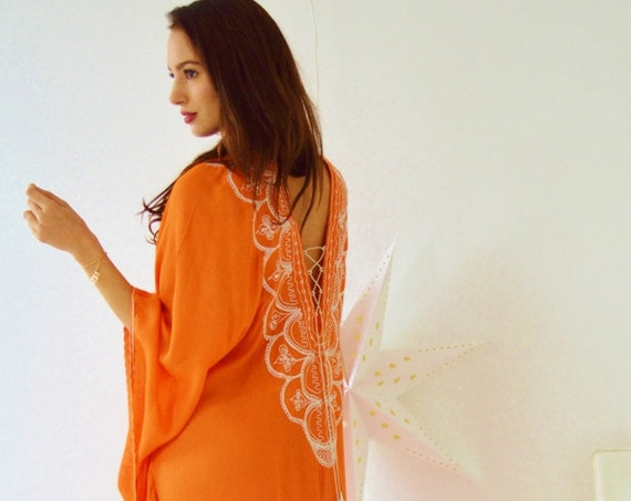 Orange Agadir Embroidery Beach Wedding Gown Caftan Kaftan -cover ups, beach wedding, resortwear,maxi dresses, honeymoon, maternity gifts