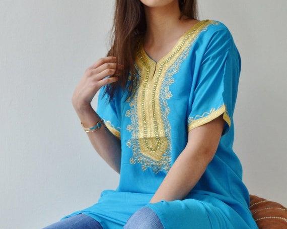 NEW Spring Turquoise Resort Caftan Kaftan Fez-Ramadan, Eid, resortwear,beach coverup,loungewear, maxi dresses, birthdays, hone, Ramadan, Eid