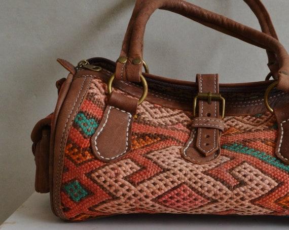 Spring Trendy  Finds Moroccan Orange Kilim Leather Satchel Cross Shoulder Straps Berber style-bag, tote, handbag, purse, gifts, , Eid,