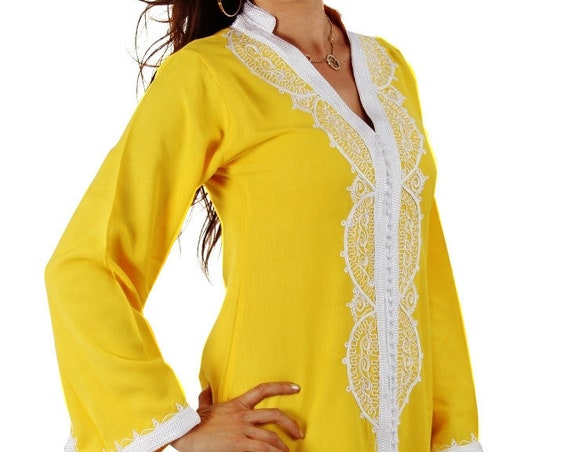 Yellow Moroccan Resort wear Caftan -Luxury loungewear,resortwear,spa robe,  Christmas, Birthdays,Honeymoon or Maternity Gifts,beach kaftan