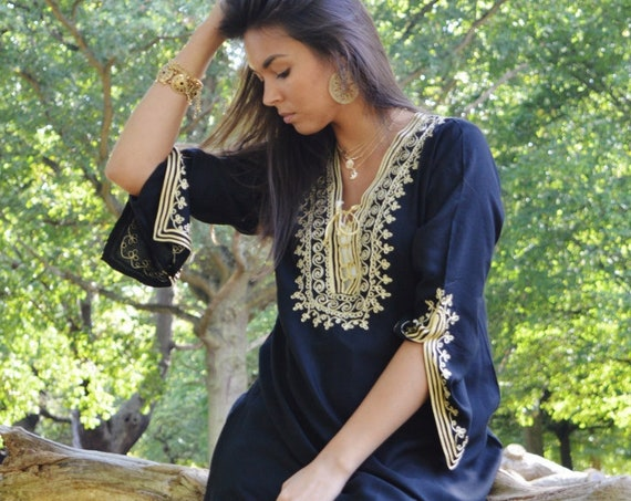 30%SALE/Black Tunic Dress with Gold Embroidery Marrakech Boho Tunic -Casual wearwear, resortwear, bohemian wear, Autumn dress, gifts