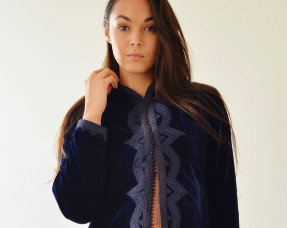 Long Navy Blue Velvet Luxury Jacket with Embroidery-Nadia-boho wear, birthday gifts, bohemian jacket, velvet, mother's day