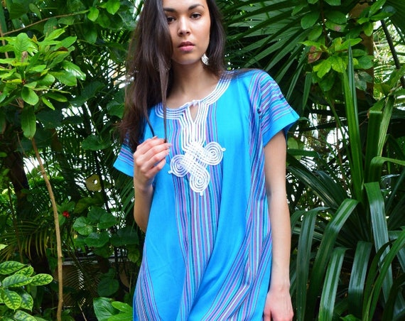 Turquoise Blue Bedouin Resort Short Tunic Caftan Kaftan - Summer dress, spring dress,beach cover ups, resortwear,loungewear, s,summer dress