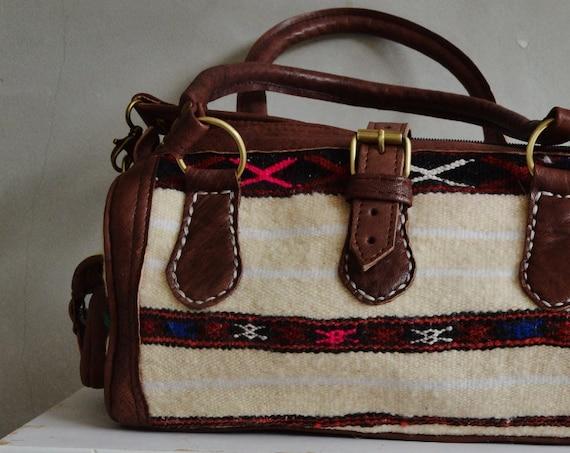 Spring Trendy  Finds Berber Design Kilim Leather Satchel Cross Shoulder Straps Berber style-bag, tote, handbag, purse, gifts no. 2
