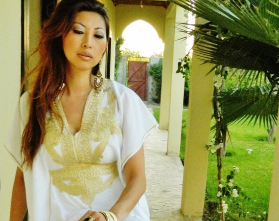 Bridesmaid gift, Bridesmaid robe, White Gold Marrakech One Size Resort Morocan Kaftan- wholesale, Beach wedding, bridal, gifts for her