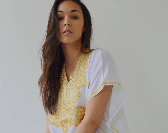 Spring Kaftan White Dress Resort Caftan Kaftan Marrakech - Embroidery, beach kaftan, resort kaftan,  dress, boho, , Eid,, dress
