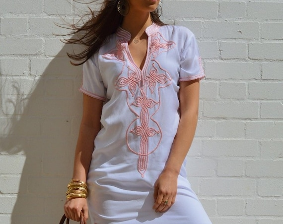 White Kaftan Moroccan Aisha Short Sleeve Boho Trendy Caftan Kaftan -resortwear,robe,Birthdays, Honeymoon, Wedding, Maternity, Ramadan, Eid
