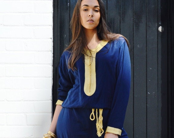 Spring Boho JUMPSUIT | Navy Blue Kara Jumpsuit -loungewear,resortwear,, , Wedding, Maternity gifts, , Eid, Ramadan, Eid,, dress,beach kaftan