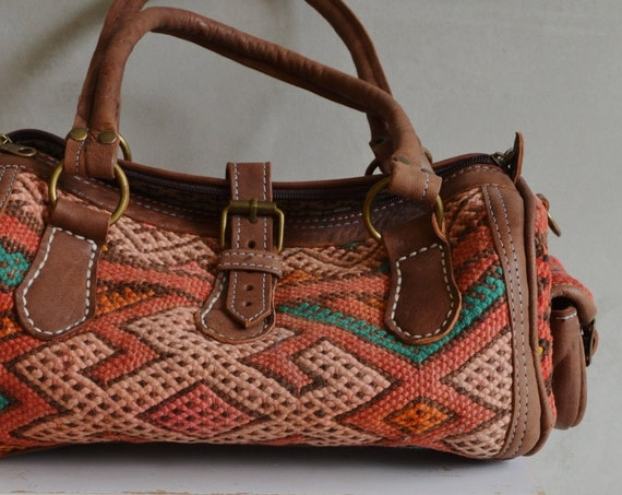 Winter Shoulder Leather Bag- Finds Moroccan Orange Kilim Leather Satchel Cross Shoulder Straps Berber style-bag, tote, handbag, purse, gifts