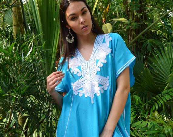 Spring Kaftan Sale//Turquoise Blue & White Marrakech Resort Caftan Kaftan - beach cover ups, resortwear,maxi dresses, s, dress, dress