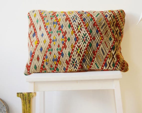 Spring Vintage Moroccan Pattern Kilim Berber Carpet Cushions-lumbar, vintage cushions, gifts, No.21, , Eid,,boxing day sale,summer dress