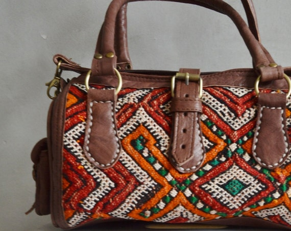 Autumn Bag Moroccan Red Orange Kilim Leather Satchel Cross Shoulder Straps Berber style-bag, tote, handbag, purse, gifts, Ramadan, Eid