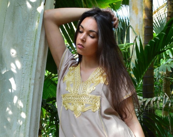 Beige Gold Marrakech Resort SHORT Tunic Caftan Kaftan - Summer dress, spring dress,beach cover ups, resortwear,loungewear, s,summer dress