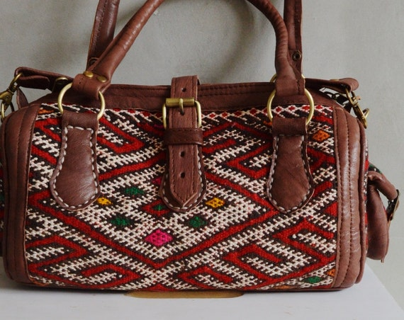 Shoulder bag-Trendy Autumn Finds Moroccan Red Kilim Leather Satchel Cross Shoulder Straps Berber style-bag, tote, handbag, purse, gifts