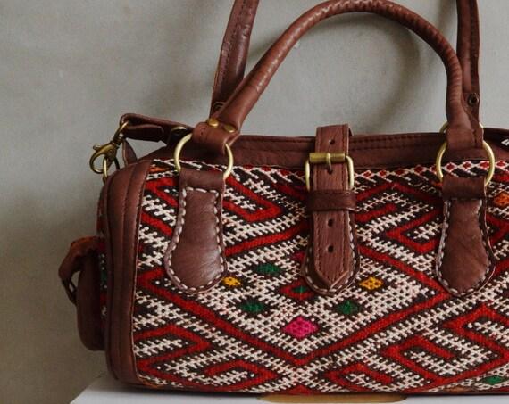 Spring Spring Trendy  Finds Moroccan Red Kilim Leather Satchel Cross Shoulder Straps Berber style-bag, tote, handbag, purse, gifts, , Eid,,