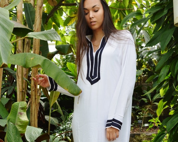 White Navy Blue Kaftan Mariam  Caftan Kaftan loungewear,resortwear, beach kaftan, moroccan dress, holiday kaftan, maxi dress,boho dress