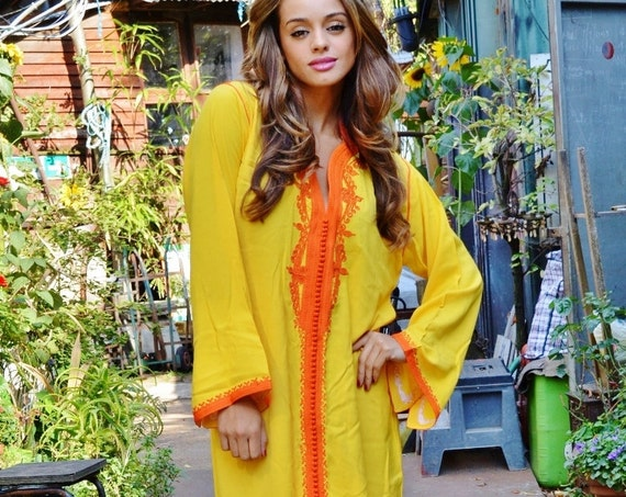 Summer Yellow Orange Moroccan Caftan Dress (Long) - Lella Luxury  loungewear, beachwear, gift  moms and to be moms, maternity wear,, lounge