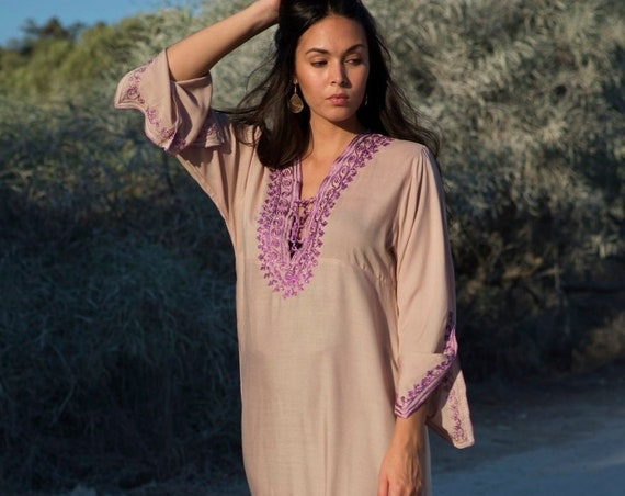 Beige Lilac Winter Kaftan-Cotton Embroidery Dress, Bohochic Caftan, Lounge Dress, Winter Dress, Bohemian Clothing, Maternity Dress