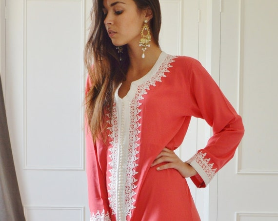 Summer Salmon Pink Caftan Maxi Dress- Karima Style-loungewear,resortwear,resortwear, Birthdays,Honeymoon or Maternity Gifts, kaftan