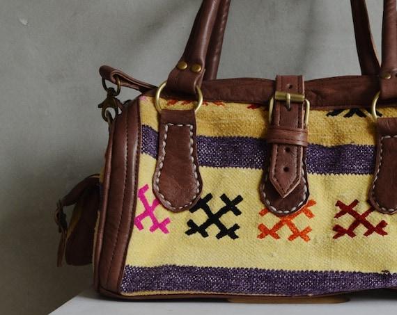 Winter Winter Trendy  Finds Berber Design Kilim Leather Satchel Cross Shoulder Straps Berber style-bag, tote, handbag, purse, gifts, , Eid,,