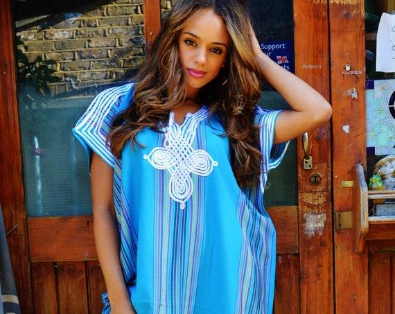 Spring Turquoise Blue Resort Caftan Kaftan Bedoin - loungewear, as beachwear, birthday gifts, honeymoon gifts, kaftan, beach cover ups, eid,