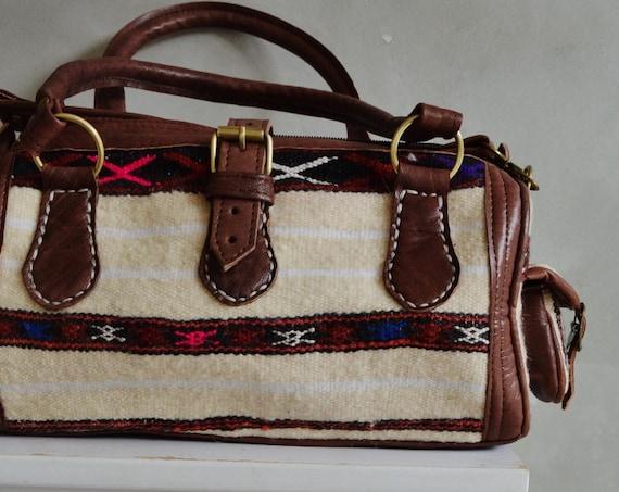 Autumn Shoulder Leather Bag-Trendy Winter Finds Berber Design Kilim Leather Satchel Cross Shoulder Straps Berber style-bag, tote, handbag