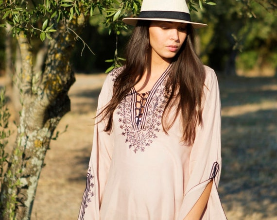 Spring Beige Tunic Navy Blue Boho Tunic Dress-loungewear, resortwear, bohemian clothing, embroidery top, trending,  tunic,, dress