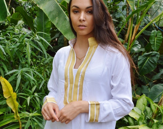 Summer Kaftan White Gold  Mariam  Caftan Kaftan loungewear,resortwear, beach kaftan, moroccan dress, holiday kaftan, maxi dress,beach kaftan