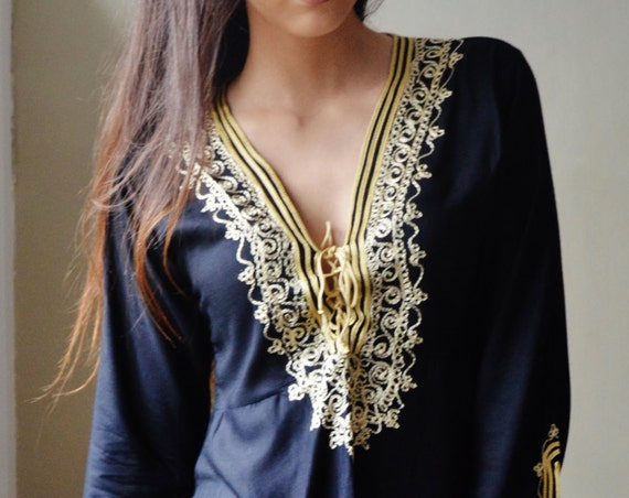 Summer Tunic Black with Gold Embroidery Traditional Marrakech Tunic Dress - Casualwear, resortwear, dress,,,Ramadan,Easter,mother's day gift