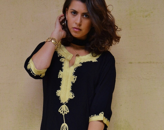 Winter Bohemian Black with Brown Embroidery Moroccan Tunic Khalia-for gifts, holiday wear, casual wear, resortwear, beach wear,eid, summer