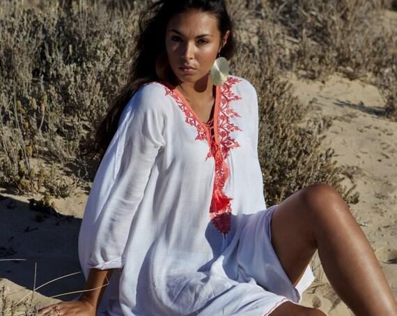 Autumn White Orange Agadir Embroidery Beach Wedding Gown Caftan Kaftan -cover ups, beach wedding, resortwear,maxi dress, maternity gift