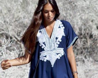 914d7c2bae Summer Kaftan Navy Blue Silver Boho Marrakech Resort Caftan Kaftan -beach  cover ups, resortwear,loungewear, beach wedding, , Eid,, lounge