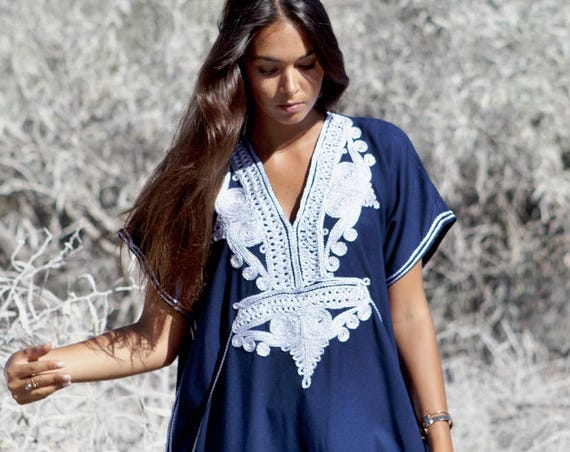Spring Kaftan Navy Blue Silver Boho Marrakech Resort Caftan Kaftan -beach cover ups, resortwear, giftswear, beach wedding, , Eid,