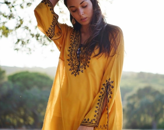 Mustard Tunic Dress Navy Blue Boho Tunic  loungewear, resortwear, bohemian clothing, embroidery top, trending, Autumn tunic,Autumn dress