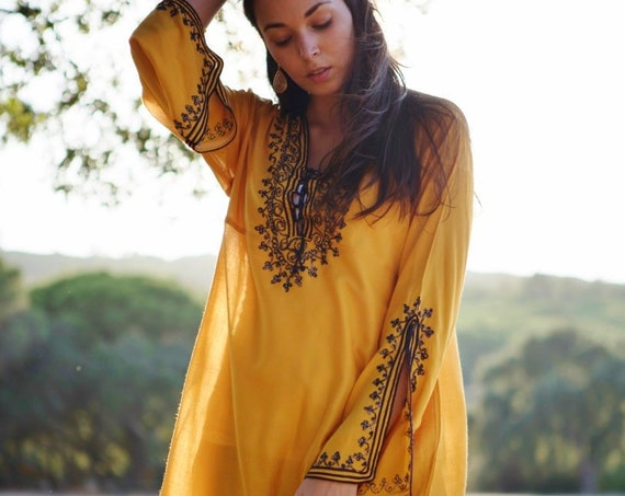 Spring Easter Mustard Tunic Dress,loungewear, resortwear, bohemian clothing, embroidery top, Spring dress