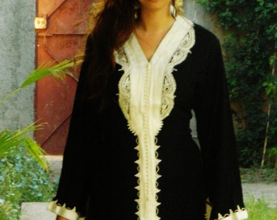 Spring Black Marrakech Dress - perfect  resort wear, holidays, birthday gifts, resort wear, Ramadan, Eid, dress,beach kaftan