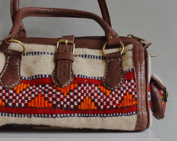 Shoulder Bag Winter Finds Moroccan White Kilim Leather Satchel Cross Shoulder Straps Berber style-bag, tote, handbag, purse, gifts, handbag